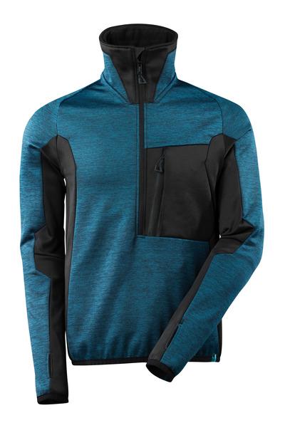 MASCOT® ADVANCED - ciemna petrolowy/czerń - Bluza polarowa z krótkim zamkiem błyskawicznym, nowoczesny krój