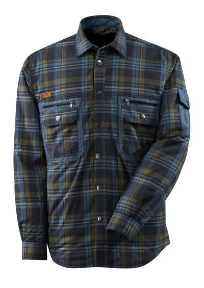 MASCOT® ADVANCED - ciemny granat/błękitno niebieski* - Koszula z CLIMASCOT®, flanela w dużą kratę