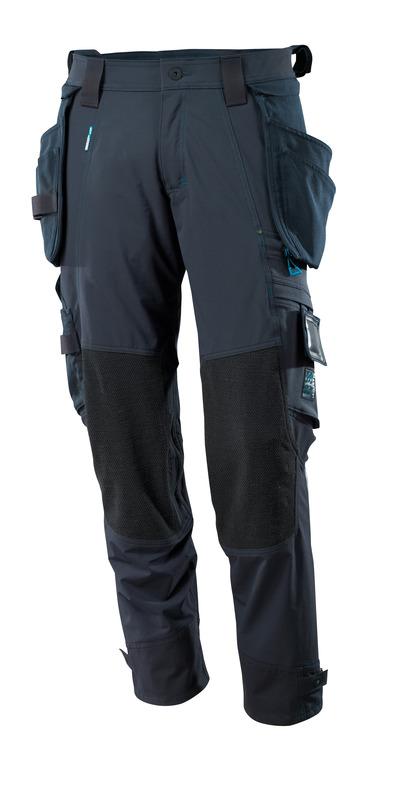 MASCOT® ADVANCED - ciemny granat - Spodnie z odczepianymi kieszeniami wiszącymi, czterokierunkowy strecz, lekka waga.