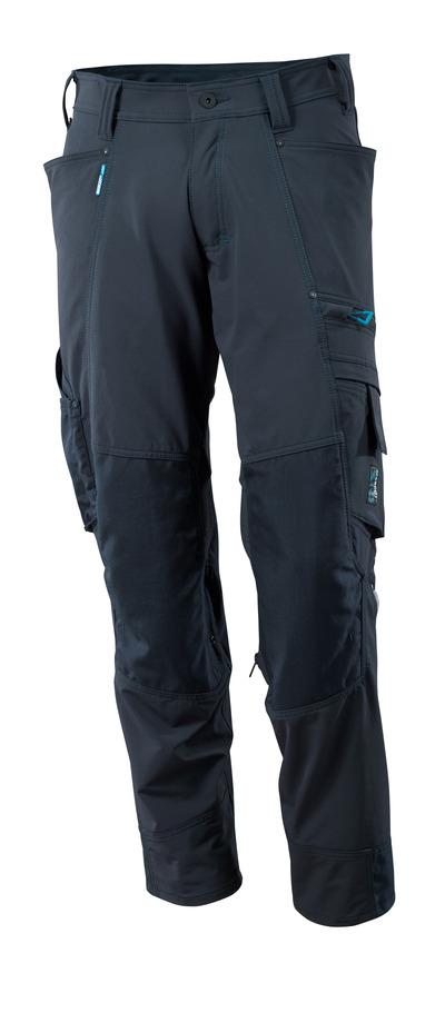 MASCOT® ADVANCED - ciemny granat - Spodnie z kieszeniami na kolanach, czterokierunkowy strecz, lekka waga.