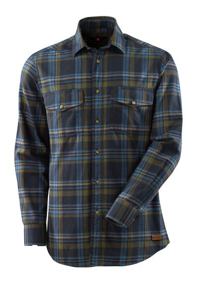 MASCOT® ADVANCED - ciemny granat/błękitno niebieski - Koszula z flaneli w dużą kratę