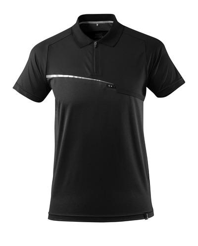 MASCOT® ADVANCED - czerń - Koszulka polo, z kieszenią na piersi, odprowadzająca wilgoć, nowoczesny krój