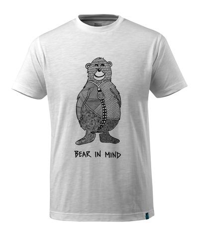 MASCOT® ADVANCED - biel - T-shirt z logo niedźwiedzia oraz napisem BEAR IN MIND, nowoczesny krój