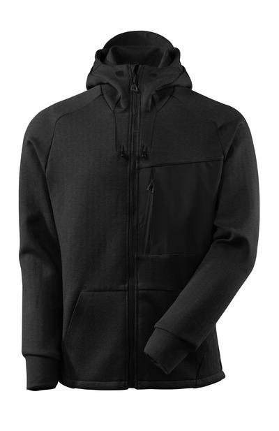 MASCOT® ADVANCED - nakrapiana czerń/czerń - Bluza z kapturem z zamkiem błyskawicznym, nowoczesny krój