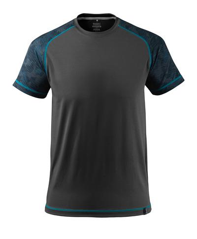 MASCOT® ADVANCED - czerń - T-Shirt, odprowadzający wilgoć, nowoczesny krój