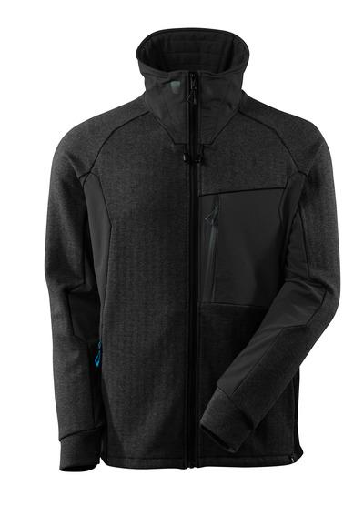 MASCOT® ADVANCED - nakrapiana czerń/czerń - Bluza z zamkiem błyskawicznym, wysoki kołnierz, nowoczesny krój