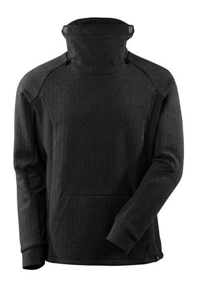 MASCOT® ADVANCED - nakrapiana czerń/czerń - Bluza z wysokim regulowanym kołnierzem, nowoczesny krój