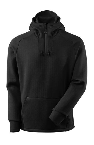 MASCOT® ADVANCED - nakrapiana czerń/czerń - Bluza z kapturem z krótkim zamkiem błyskawicznym, nowoczesny krój