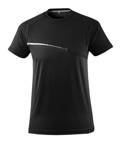 MASCOT® ADVANCED - czerń - T-Shirt z kieszenią na piersi, odprowadzający wilgoć, nowoczesny krój
