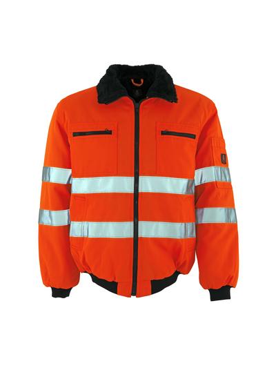 MASCOT® Alaska - pomarańcz hi-vis  - Kurtka pilotka z futrzaną podpinką, wodoodporna tkanina, klasa 3