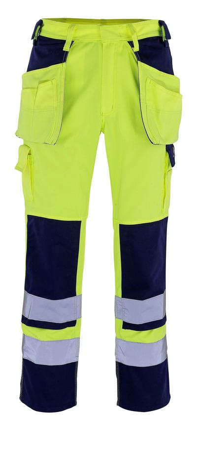 MASCOT® Almas - żółty hi-vis/granat - Spodnie z kieszeniami na kolanach i kieszeniami wiszącymi, klasa 2