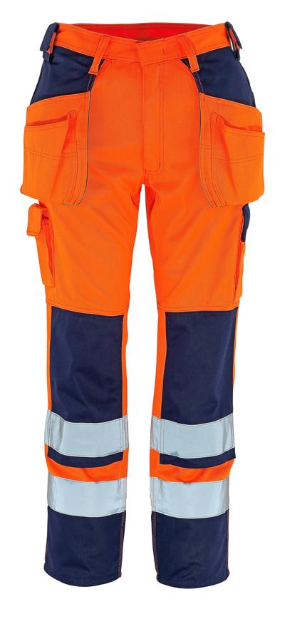 MASCOT® Almas - pomarańcz hi-vis/granat - Spodnie z kieszeniami na kolanach i kieszeniami wiszącymi, klasa 2