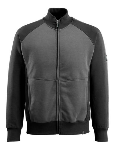 MASCOT® Amberg - ciemny antracyt/czerń - Bluza z zamkiem błyskawicznym, nowoczesny krój