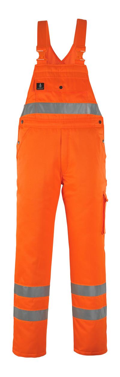 MASCOT® Antarktis - pomarańcz hi-vis* - Ogrodniczki zimowe z pikowaną podszewką, wodoodporna tkanina, klasa 2/2