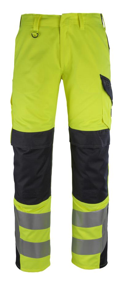 MASCOT® Arbon - żółty hi-vis/ciemny granat - Spodnie z kieszeniami na kolanach, wszechstronna ochrona, klasa 2