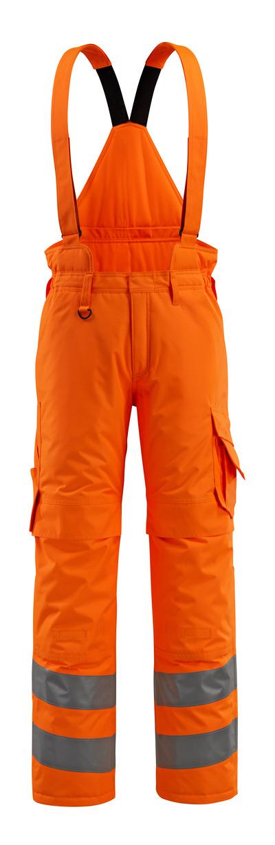 MASCOT® Ashford - pomarańcz hi-vis  - Spodnie zimowe z pikowaną podpinką i odpinanymi szelkami, wodoszszelne