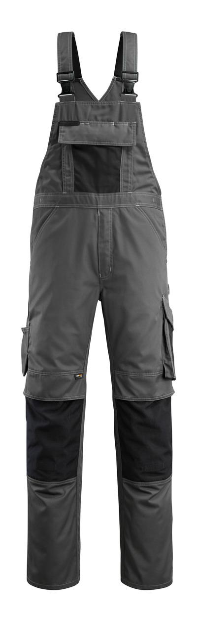 MASCOT® Augsburg - ciemny antracyt/czerń - Ogrodniczki z kieszeniami na kolanach, niska waga