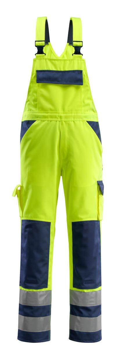 MASCOT® Barras - żółty hi-vis/granat - Ogrodniczki z kieszeniami na kolanach, klasa 2