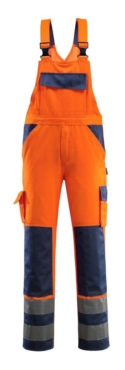 MASCOT® Barras - pomarańcz hi-vis/granat - Ogrodniczki z kieszeniami na kolanach, klasa 2