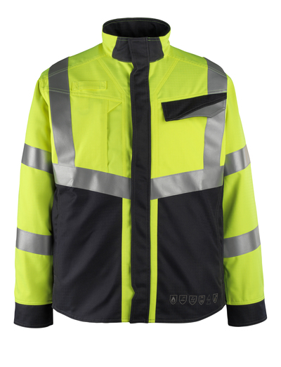 MASCOT® Biel - żółty hi-vis/ciemny granat - Kurtka, wszechstronna ochrona, klasa 2