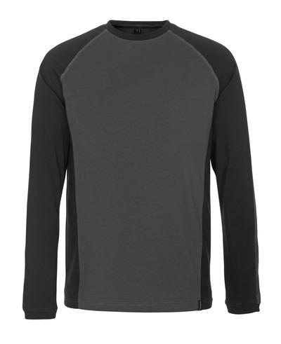 MASCOT® Bielefeld - ciemny antracyt/czerń - T-Shirt z długimi rękawami, nowoczesny krój
