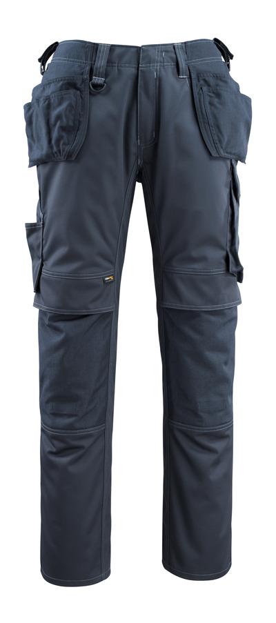 MASCOT® Bremen - ciemny granat - Spodnie z kieszeniami CORDURA® na kolanach i kieszeniami wiszącymi, wysoka odporność na zużycie