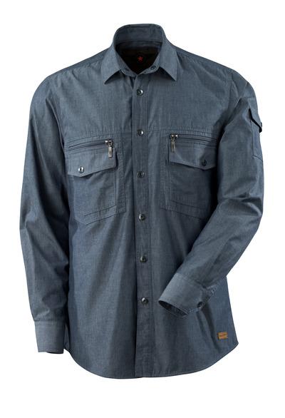 MASCOT® CROSSOVER - sprany ciemno niebieski denim - Koszula splot chambray z podszewką z siateczki.