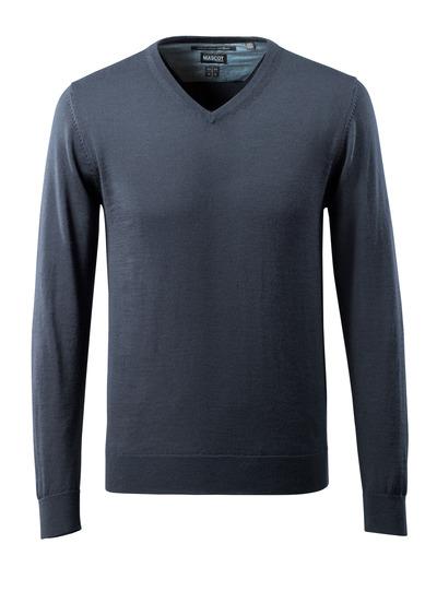 MASCOT® CROSSOVER - ciemny granat - Bluza z dzianiny, wykończenie pod szyją w kształcie litery V, z wełną merynosową