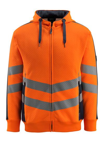 MASCOT® Corby - pomarańcz hi-vis/ciemny granat - Bluza z kapturem, gofrowana powierzchnia, nowoczesny krój