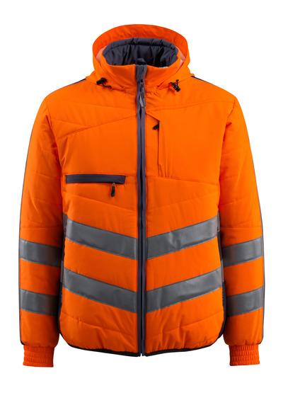 MASCOT® Dartford - pomarańcz hi-vis/ciemny granat - Kurtka z podszewką z kapturem, wodoodporna tkanina, klasa 2