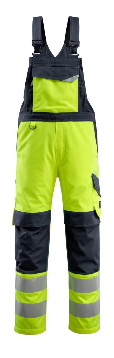 MASCOT® Davos - żółty hi-vis/ciemny granat - Ogrodniczki z kieszeniami na kolanach, wszechstronna ochrona, klasa 2