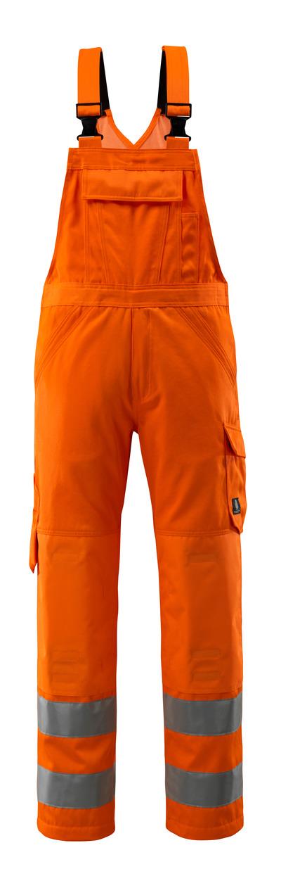 MASCOT® Devonport - pomarańcz hi-vis  - Spodnie ogrodniczki, jeden kolor, klasa 2
