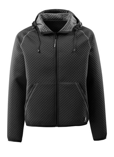 MASCOT® Dosrius - czerń - Bluza z kapturem z zamkiem błyskawicznym, gofrowana powierzchnia, dwustronna