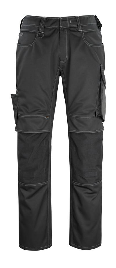 MASCOT® Erlangen - czerń/ciemny antracyt - Spodnie z kieszeniami CORDURA® na kolanach, wysoka odporność na zużycie