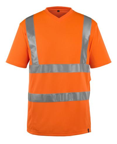 MASCOT® Espinosa - pomarańcz hi-vis  - T-Shirt, wykończenie przy szyi w kształcie litery V, nowoczesny krój, klasa 2