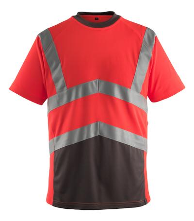 MASCOT® Gandra - czerwień hi-vis/ciemny antracyt* - T-Shirt, nowoczesny krój, klasa 2