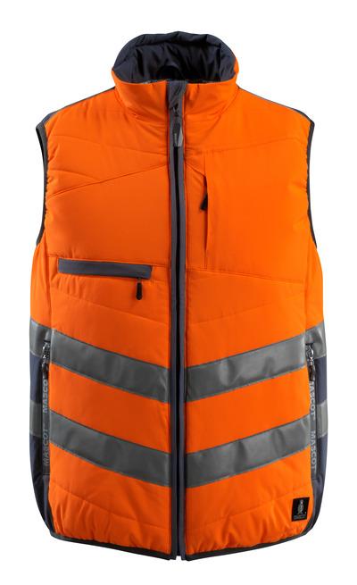 MASCOT® Grimsby - pomarańcz hi-vis/ciemny granat - Kamizelka, watowana, wodoodporna tkanina, klasa 1