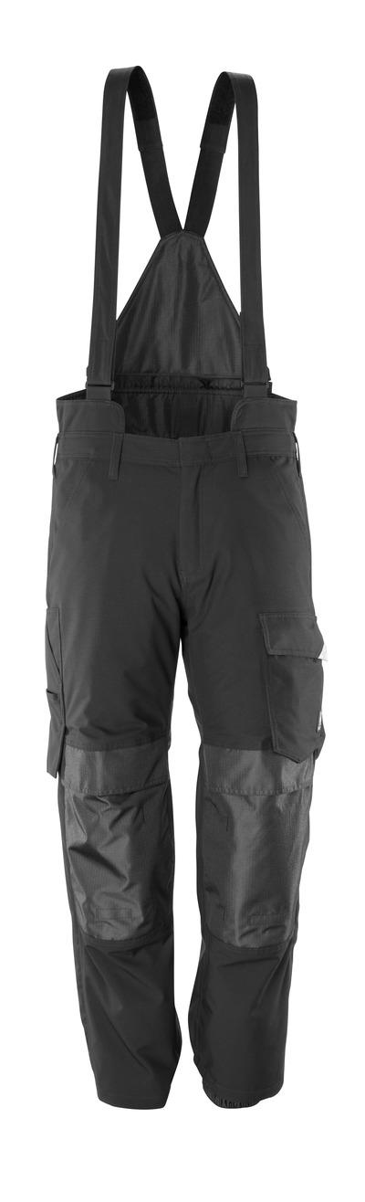 MASCOT® HARDWEAR - czerń - Spodnie zewnętrzne naciągane z kieszeniami na kolanach, właściwości wiatro- i wodoszczelne