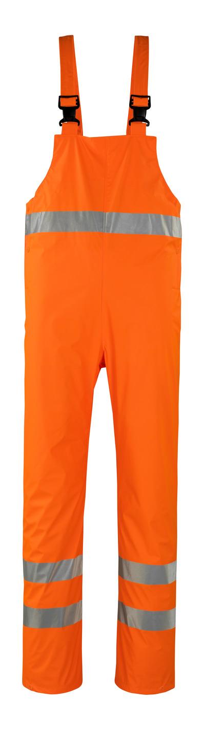 MASCOT® Hartberg - pomarańcz hi-vis* - Ogrodniczki przeciwdeszczowe, właściwości wiatro- i wodoszczelne, klasa 2