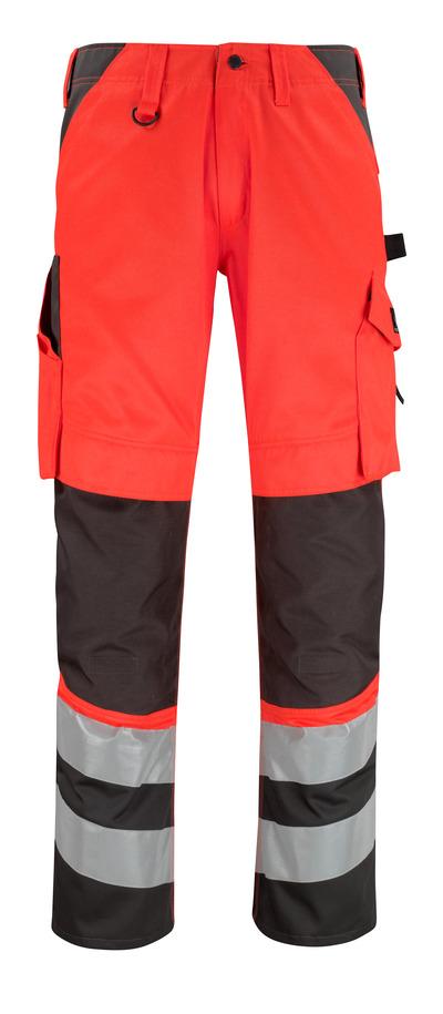 MASCOT® Horta - czerwień hi-vis/ciemny antracyt* - Spodnie z kieszeniami na kolanach