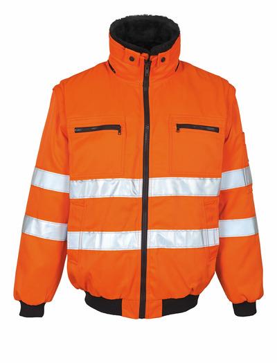 MASCOT® Innsbruck - pomarańcz hi-vis  - Kurtka pilotka z odpinaną futrzaną podpinką, wodoodporna tkanina, klasa 2