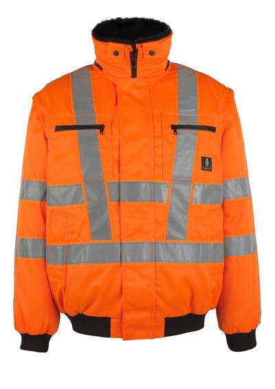 MASCOT® Innsbruck - pomarańcz hi-vis  - Kurtka pilotka z odpinaną futrzaną podpinką, wodoodporna tkanina, klasa 3