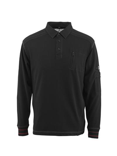 MASCOT® Ios - czerń - Bluza polo z kieszenią na piersi, nowoczesny krój