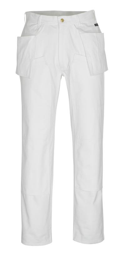 MASCOT® Jackson - biel* - Spodnie z kieszeniami na kolanach i kieszeniami wiszącymi