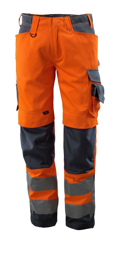 MASCOT® Kendal - pomarańcz hi-vis/ciemny granat - Spodnie z kieszeniami CORDURA® na kolanach, klasa 2