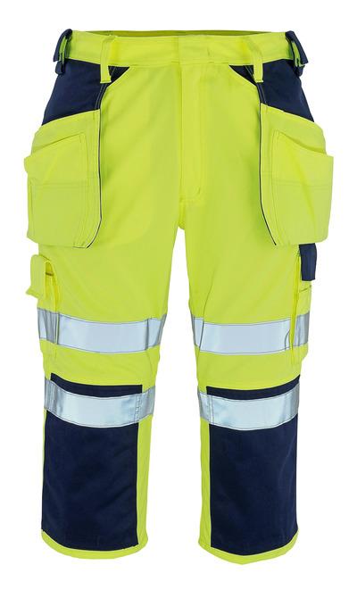 MASCOT® Lagarto - żółty hi-vis/granat* - Spodenki ¾ z kieszeniami na kolanach i kieszeniami wiszącymi