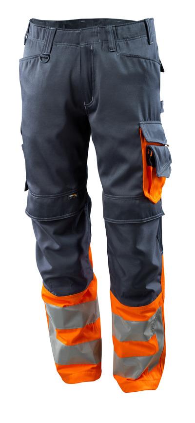 MASCOT® Leeds - ciemny granat/pomarańcz hi-vis - Spodnie z kieszeniami CORDURA® na kolanach, klasa 1