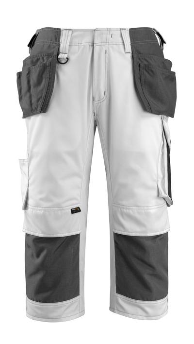 MASCOT® Lindau - biel/ciemny antracyt - Spodenki ¾ z kieszeniami CORDURA® na kolanach i kieszeniami wiszącymi, wysoka odporność na zużycie