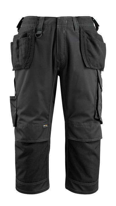 MASCOT® Lindau - czerń - Spodenki ¾ z kieszeniami CORDURA® na kolanach i kieszeniami wiszącymi, wysoka odporność na zużycie