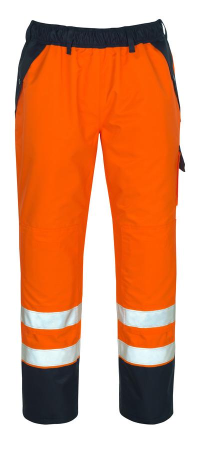 MASCOT® Linz - pomarańcz hi-vis/granat - Spodnie zewnętrzne naciągane z kieszeniami na kolanach, wodoszczelny MASCOTEX®, klasa 1/2